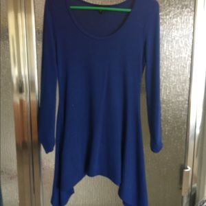 Long sleeve blue asymmetrical sweater